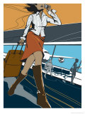 Woman Walking Through an Airport Affiche