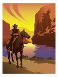 Cowboy sur son cheval Poster
