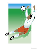 An African-American Soccer Player Jumping to Block a Soccer Ball Affiche