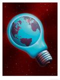 Globe Inside a Light Bulb Posters