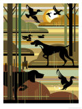 Pond with Ducks and Hunting Dogs Poster