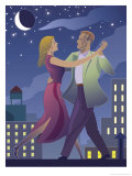 A Male and Female Couple Dancing at Night with a City Skyline in the Background Posters