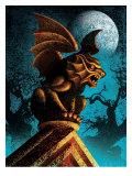 Gargoyle Against Night Sky Affiches