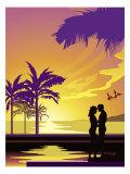 Honeymoon Couple on Pier Poster
