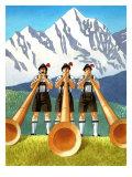 Three Swiss Men Playing Alphorns Art
