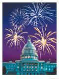 White House and Fireworks Posters
