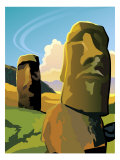 The Moai Statues on Easter Island Affiches