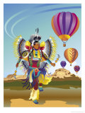 American Indian Dancer and Hot Air Balloons, Grouped Elements Poster