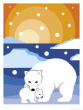 Polar Bear with Cub Art