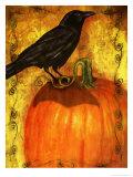 Crow Standing on Pumpkin Poster