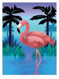 A Flamingo Standing in Water Art