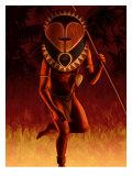 Warrior Wearing Tribal Mask Print