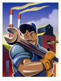 Man Holding Wrench in Front of Factory, Labor Day Affiches