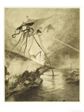 The War of the Worlds, The Martian Fighting-Machines in the Thames Valley Lámina giclée por Henrique Alvim Corrêa