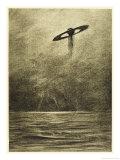 The War of the Worlds, The Martian Flying-Machine Over the English Channel Lámina giclée por Henrique Alvim Corrêa