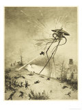 The War of the Worlds, a Martian Fighting-Machine is Destroyed by a Hit from a Shell Lámina giclée por Henrique Alvim Corrêa