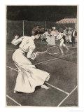 Woman Playing Tennis in Long White Skirt Giclee Print by Ferdinand Von Reznicek
