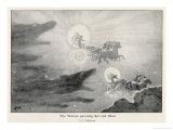 The Wolves Skoll (Repulsion) and Hati (Hate) Pursue Sol (Sun) and Mani (Moon) Across the Skies Giclee Print by J.c. Dollman