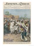 Gandhi Calls on Indian Nationalists to Practise Civil Disobedience Gicléetryck av Achille Beltrame