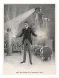 "Nikola Croatian Inventor Holding Balls of ""Flame"" in His Bare Hands Lámina giclée por Warwick Goble"