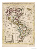 Map of North and South America Impressão giclée por J. Gibson