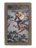 Peter Pan and Wendy Sit in a Treetop in Never-Never Land Giclee Print by S. Barham