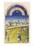 June Making Hay Within Sight of the Royal Palace at Paris the Sainte Chapelle and the Conciergerie Giclée-tryk af Pol De Limbourg