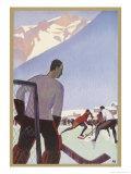 An Ice-Hockey Match in Chamonix France Giclée-Druck von Roger Broders