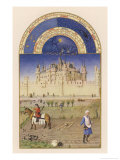 October Peasants Sow Next Year's Crops Within Sight of the Palais Du Louvre Paris Giclée-tryk af Pol De Limbourg