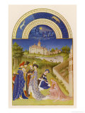 April Courtly Life in the Grounds of the Chateau De Dourdan Giclée-tryk af Pol De Limbourg
