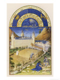 Gathering the Harvest and Tending Sheep Close to the Chateau De Poitiers Giclée-tryk af Pol De Limbourg
