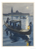 Venetian Gondola by the Light of the Moon Giclee Print by Auguste Leroux