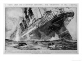The Lusitania Sinks after Being Hit by German Torpedoes Giclée-Druck von Charles Dixon