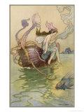 Fairy Riding a Nautilus Lámina giclée por Warwick Goble