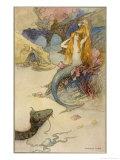 Mermaid Combing Her Hair Lámina giclée por Warwick Goble