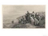 The Pilgrim Fathers Watch the Mayflower Sail Home to England Lámina giclée por A.w. Bayers