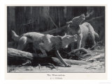 Two Werewolves Howl at the Full Moon Giclee Print by J.c. Dollman