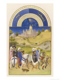 Hawking in Medieval France Giclée-tryk af Pol De Limbourg