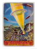 Martian Raiders Using a Terrible Weapon of Concentrated Sunlight Attack the City of New York Giclee Print by Frank R. Paul