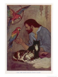 Robinson Crusoe with His Parrots and Cats Gicléetryck av Elenore Plaisted Abbott