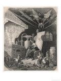 An Alchemist Anxiously Watches the Progress of His Work Giclee-trykk av Gustave Doré