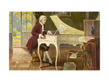 Wolfgang Amadeus Mozart the Austrian Composer Playing an Ornate Harpsichord Giclee Print by T. Beck