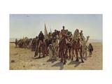 Caravan of Pilgrims Cross the Desert to Mecca Reproduction procédé giclée par Leon Belly