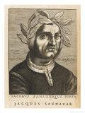 "Jacopo Sannazaro Italian Writer Known for His ""Arcadia"" Derived from Virgil Giclee Print by Nicolas de Larmessin"