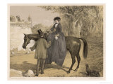 Lady in Her Riding Habit is Helped to Dismount by a Gentleman Giclee Print by Edmond Morin