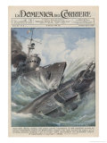An Italian Torpedo Boat Heroically Rams and Sinks a British Submarine Gicléetryck av Achille Beltrame