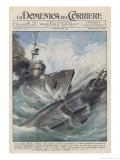 An Italian Torpedo Boat Heroically Rams and Sinks a British Submarine Gicléetryck av Achille Beltrame