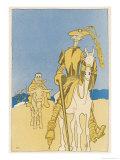 Sir Edward Grey as Don Quixote and Vittorio Emanuele as Sancho Panza Giclee Print by Olaf Gulbransson