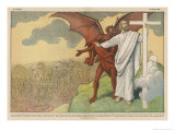 Satan Offers Jesus All Kinds of Nice Things if He Will Only Renounce His Mission: But He Refuses Gicléetryck av Eugene Damblans