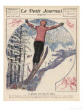 Winter Games at Chamonix: Ski Jumping Ice Hockey and Skating Giclee Print by Andre Galland